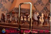 Фирменный оригинальный ультра-тонкий чехол-бампер со стразами для Samsung Galaxy S4 GT-i9500/i9505 золотой металлический