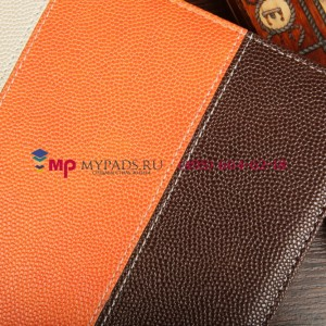 Чехол-обложка для SUPRA M720 коричневый с оранжевой полосой кожаный
