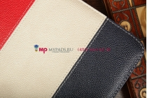 Чехол-обложка для SUPRA M720 синий с красной полосой кожаный