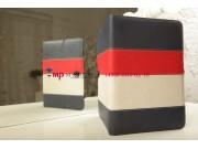 Чехол-обложка для SUPRA M720 синий с красной полосой кожаный..