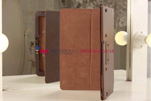 Фирменный чехол-книжка для Samsung Ativ Smart PC Pro XE700T1C коричневый кожаный