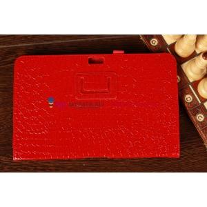 Фирменный чехол-обложка для Samsung Ativ Smart PC XE500T1C лаковая кожа крокодила алый огненный красный