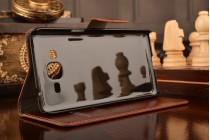 Фирменный чехол-книжка из качественной импортной кожи с мульти-подставкой застёжкой и визитницей для Самсунг Галакси Гранд Прайм Прайме СМ-С530Н коричневый
