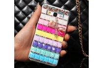 Фирменная роскошная элитная пластиковая задняя панель-накладка украшенная стразами кристалликами и декорированная элементами для Samsung Galaxy Grand Prime SM-G530H радужная