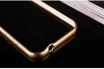 Фирменный оригинальный ультра-тонкий чехол-бампер со стразами для Samsung Galaxy Mega 2 SM-G750F золотой металлический