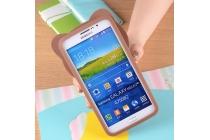 """Фирменная задняя панель-чехол-накладка с объёмным 3D изображением для Samsung Galaxy Mega 2 SM-G750F """"тематика Мишка в шарфе"""""""