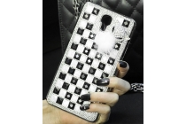 Фирменная роскошная элитная пластиковая задняя панель-накладка украшенная стразами кристалликами и декорированная элементами для Samsung Galaxy Mega 2 SM-G750F черно-белая