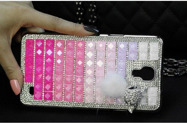 Фирменная роскошная элитная пластиковая задняя панель-накладка украшенная стразами кристалликами и декорированная элементами для Samsung Galaxy Mega 2 SM-G750F малиновая