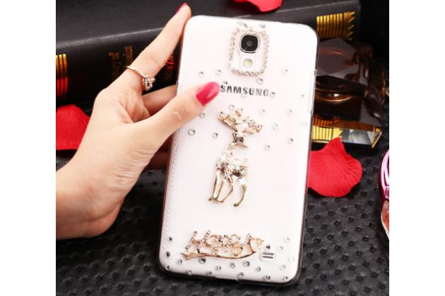 Фирменная роскошная элитная пластиковая задняя панель-накладка украшенная стразами кристалликами и декорированная элементами для Samsung Galaxy Mega 2 SM-G750F Золотой Олень