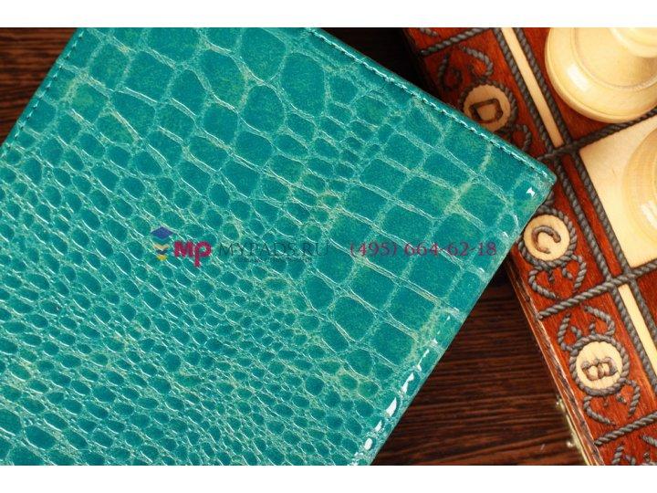 Лаковая блестящая кожа под крокодила фирменный чехол-обложка для Samsung Galaxy Note 8.0 цвет морской волны..
