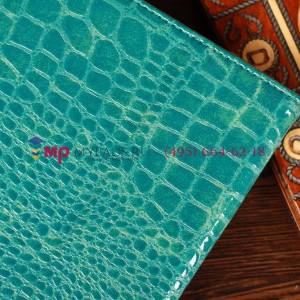 Лаковая блестящая кожа под крокодила фирменный чехол-обложка для Samsung Galaxy Note 8.0 цвет морской волны