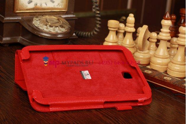 """Фирменный чехол-обложка для Samsung Galaxy Note 8.0 N5100/N5110 красный кожаный 'Prestige"""" Италия"""