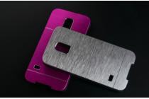 Фирменная металлическая задняя панель-крышка-накладка из тончайшего облегченного авиационного алюминия для Samsung GALAXY S5 mini SM-G800F) серебрянная