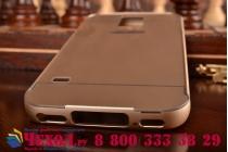 Фирменная металлическая задняя панель-крышка-накладка из тончайшего облегченного авиационного алюминия для Samsung Galaxy S5 SM-G900H/G900F золотая