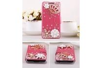 Фирменный чехол-книжка с застежкой украшенная стразами кристалликами и декорированная элементами для Samsung Galaxy S5 mini  розовая