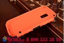Противоударный усиленный ударопрочный фирменный чехол-бампер-пенал для Samsung Galaxy S5 mini оранжевый