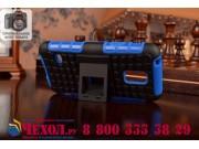 Противоударный усиленный ударопрочный фирменный чехол-бампер-пенал для Samsung Galaxy S5 mini  синий..