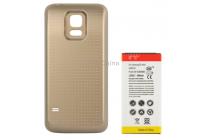 Усиленная батарея-аккумулятор большой ёмкости 6300mah для телефона Samsung GALAXY S5 mini SM-G800F + задняя крышка в комплекте золотая + гарантия