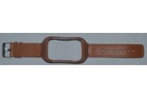 Фирменный сменный кожаный ремешок для умных смарт-часов Samsung Gear S R750 из качественной импортной кожи С РАМКОЙ