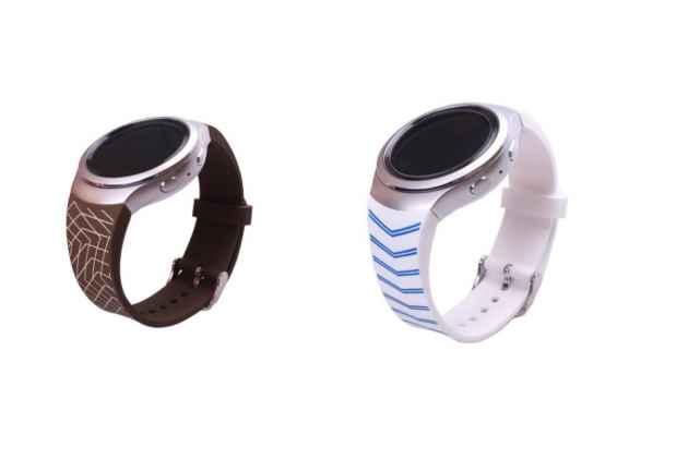 Фирменный необычный сменный силиконовый ремешок  для умных смарт-часов Samsung Gear S2 R720/Gear S2 Classic R730 с геометрическим рисунком