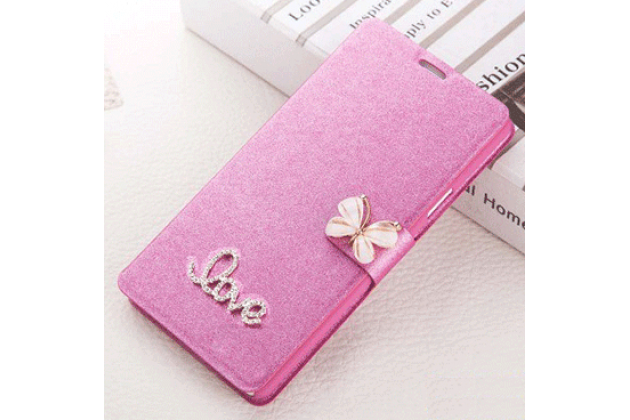 Фирменный роскошный чехол-книжка безумно красивый декорированный бусинками и кристаликами на Samsung Galaxy Core Prime G360 розовый