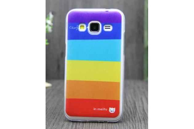 """Фирменная необычная из легчайшего и тончайшего пластика задняя панель-чехол-накладка для Samsung Galaxy Core Prime G360 """"тематика Все цвета Радуги"""""""