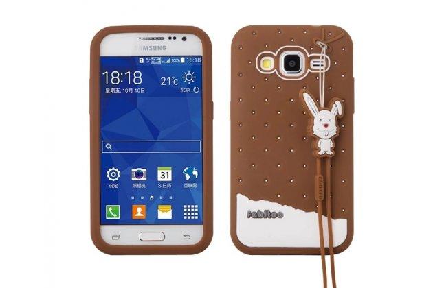 """Фирменная необычная уникальная полимерная мягкая задняя панель-чехол-накладка для Samsung Galaxy Core Prime G360 """"тематика Андроид в тёмном Шоколаде"""""""