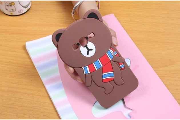 """Фирменная задняя панель-чехол-накладка с объёмным 3D изображением для Samsung Galaxy Core Prime G360 """"тематика Мишка в шарфе"""""""