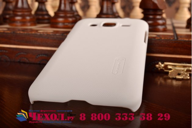 Фирменная задняя панель-крышка-накладка из тончайшего и прочного пластика для Samsung Galaxy Core Prime G360 белая