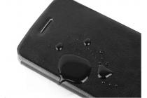 Фирменный чехол-книжка из качественной водоотталкивающей импортной кожи на жёсткой металлической основе для Samsung Galaxy Core Prime G360 коричневый