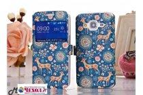 Фирменный чехол-книжка с безумно красивым расписным рисунком Оленя в цветах на Samsung Galaxy Core Prime G360 с окошком для звонков