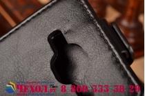 """Фирменный оригинальный вертикальный откидной чехол-флип для Samsung Galaxy Core Prime G360 черный кожаный """"Prestige"""" Италия"""