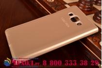 Фирменный оригинальный чехол с логотипом для Samsung Galaxy A5 SM-A500F/H S-View Cover золотистый