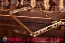Фирменный оригинальный ультра-тонкий чехол-бампер для Samsung Galaxy A5 золотой металлический