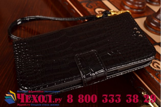 Фирменный чехол-книжка с мульти-подставкой и визитницей для Samsung Galaxy Ace Style LTE SM-G357FZ лаковая кожа крокодила брутальный черный