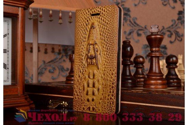 Фирменный роскошный эксклюзивный чехол с объёмным 3D изображением кожи крокодила коричневый для Samsung Galaxy E5 Sm-E500 F/H/Duos . Только в нашем магазине. Количество ограничено