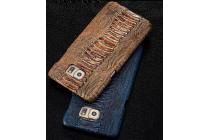 Фирменная элегантная экзотическая задняя панель-крышка с фактурной отделкой натуральной кожи крокодила кофейного цвета для Samsung Galaxy Grand 3 SM-G7200.  Только в нашем магазине. Количество ограничено.