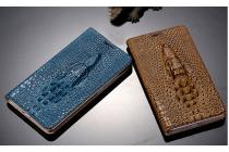 Фирменный роскошный эксклюзивный чехол с объёмным 3D изображением кожи крокодила коричневый для Samsung Galaxy Grand 3 SM-G7200 . Только в нашем магазине. Количество ограничено