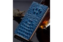Фирменный роскошный эксклюзивный чехол с объёмным 3D изображением рельефа кожи крокодила синий для Samsung Galaxy Grand 3 SM-G7200. Только в нашем магазине. Количество ограничено