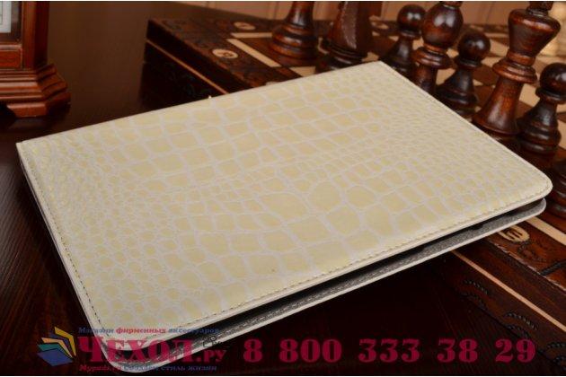 Фирменный чехол для Samsung Galaxy Tab S2 8.0 SM-T710/T715 лаковая кожа крокодила белый