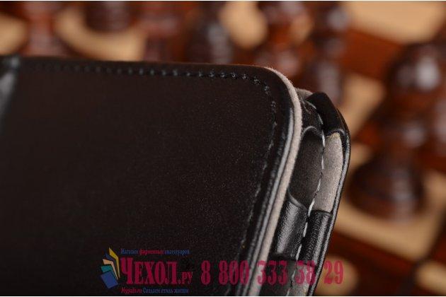 """Фирменный чехол обложка для Samsung Galaxy Tab S2 8.0 SM-T710/T715 с визитницей и держателем для руки черный натуральная кожа """"Prestige"""" Италия"""
