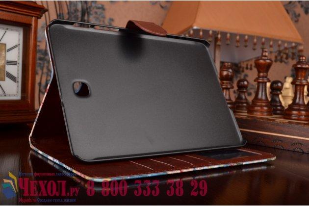 Фирменный кожаный чехол-обложка с визитницей и застежкой для Samsung Galaxy Tab S2 8.0 SM-T710/T715 синий с цветами