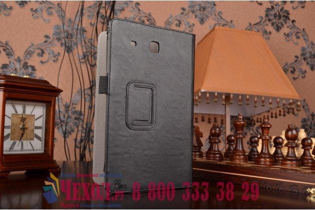 "Фирменный чехол бизнес класса для Samsung Galaxy Tab E 9.6 SM-T560N/T561N/T565N с визитницей и держателем для руки черный натуральная кожа ""Prestige"" Италия"