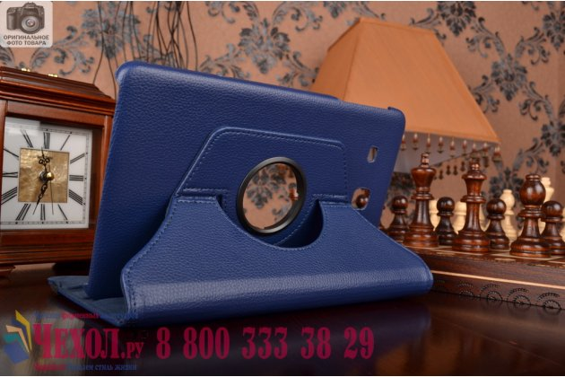 Чехол для планшета Samsung Galaxy Tab E 9.6 SM-T560N/T561N/T565N поворотный роторный оборотный синий кожаный