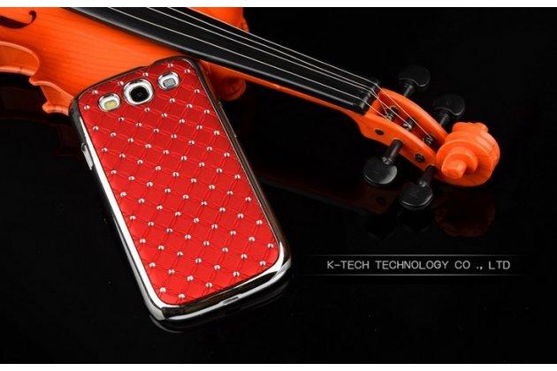 Фирменная роскошная задняя-панель-накладка декорированная кристалликами на Samsung Galaxy Grand Neo GT-I9060/DS красная
