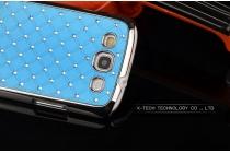 Фирменная роскошная задняя-панель-накладка декорированная кристалликами на Samsung Galaxy Grand Neo i9060 голубая