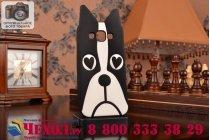 """Фирменная задняя панель-чехол-накладка с объёмным 3D изображением для Samsung Galaxy E5 """"тематика черно-белая Собака"""""""