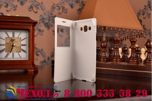 Фирменный оригинальный чехол с логотипом для  Samsung Galaxy E5 S-View Cover белый