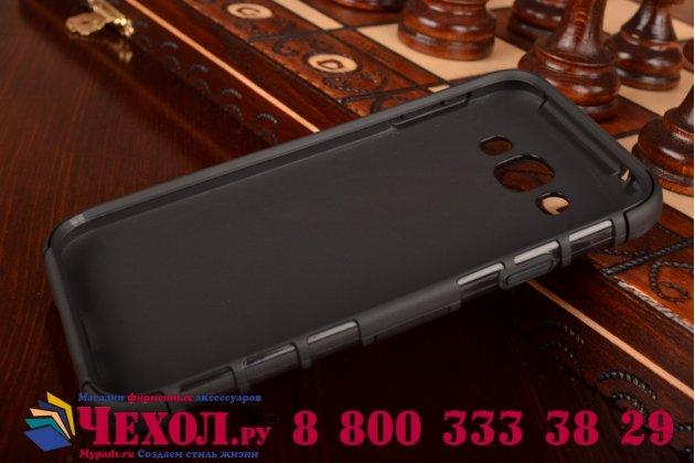 Противоударный усиленный ударопрочный фирменный чехол-бампер-пенал для Samsung Galaxy E5 черный