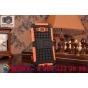 Противоударный усиленный ударопрочный фирменный чехол-бампер-пенал для Samsung Galaxy E5 оранжевый..